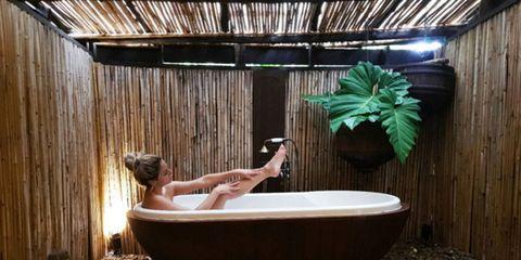 Bathtub, Room, Jacuzzi, Tree, Bathroom, Interior design, House, Leisure, Resort, Plant,