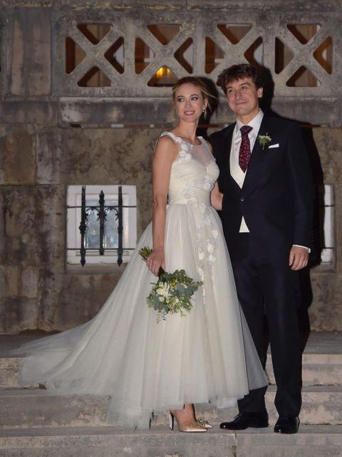 Clothing, Coat, Dress, Trousers, Bridal clothing, Shirt, Textile, Photograph, Outerwear, Wedding dress,