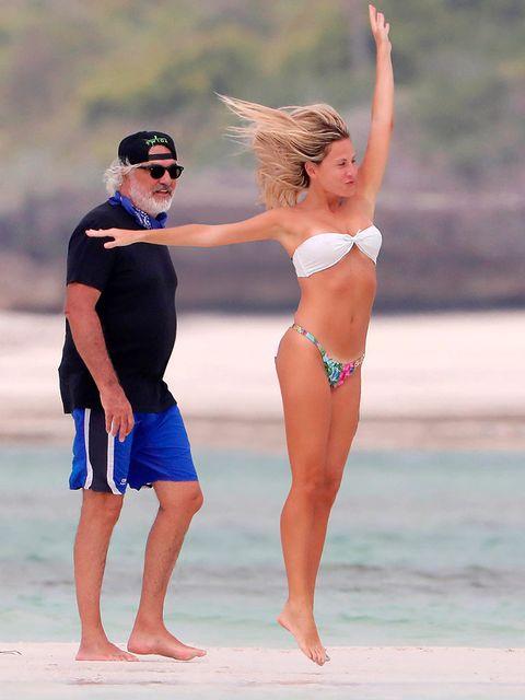 Fun, People on beach, Brassiere, Hand, Goggles, People in nature, Summer, Waist, Barefoot, Swimwear,