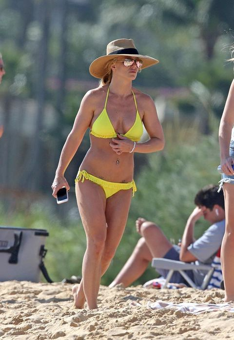 Fun, Brassiere, Hat, Human body, Summer, People in nature, Swimsuit top, Waist, Sun hat, Swimwear,