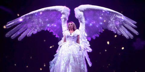 Purple, Violet, Wing, Dress, Angel, Lavender, Fictional character, Costume design, Supernatural creature, Mythical creature,