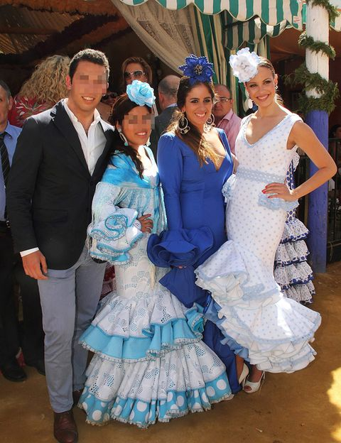 Clothing, Footwear, Blue, Smile, Dress, Event, Trousers, Textile, Bridal clothing, Outerwear,