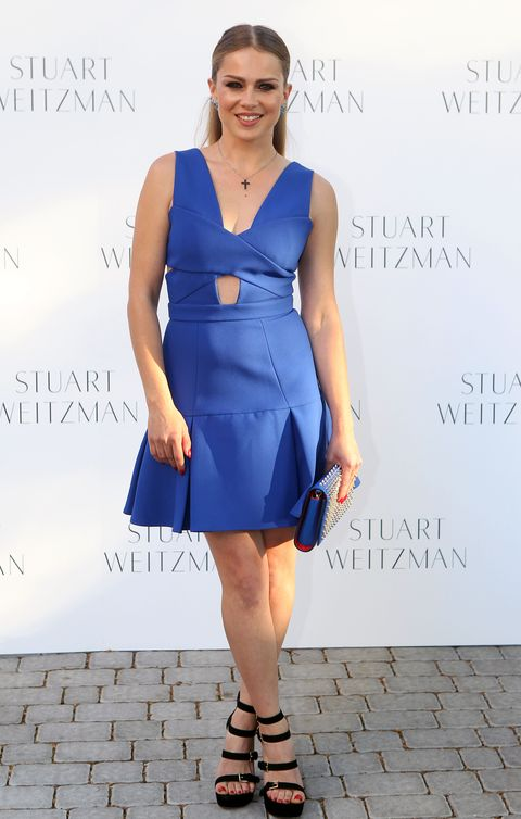 Clothing, Blue, Dress, Sleeve, Shoulder, Human leg, Joint, One-piece garment, Style, Formal wear,