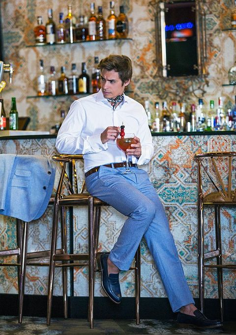 Jeans, Sitting, Denim, Bar stool, Textile, Furniture, Tourism, Restaurant, Vacation, Bar,