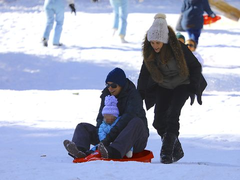 Winter, Trousers, Snow, Jeans, Freezing, Playing in the snow, People in nature, Leisure, Jacket, Ice cap,