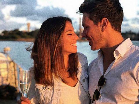 Shirt, Dress shirt, Happy, Stemware, Wine glass, Interaction, Glass, Drinkware, Barware, Love,