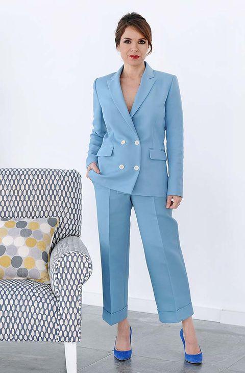 Clothing, Suit, Blue, Pantsuit, Outerwear, Formal wear, Blazer, Jacket, Pajamas, Trousers,