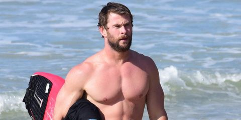 Arm, Human, Hand, Facial hair, Elbow, Surfboard, Chest, People in nature, Barechested, Muscle,