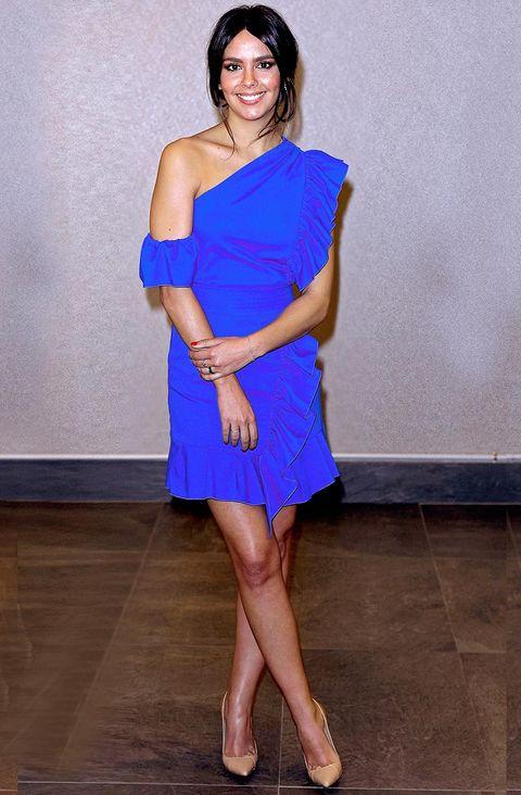 Clothing, Cobalt blue, Shoulder, Cocktail dress, Dress, Blue, Electric blue, Fashion model, Joint, Leg,