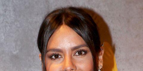 Nose, Brown, Hairstyle, Chin, Forehead, Earrings, Eyebrow, Amber, Eyelash, Black hair,