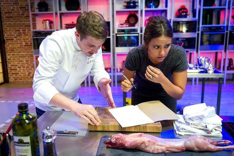 Shelf, Bottle, Butcher, Meat cutter, Shelving, Job, Countertop, Service, Cooking, Employment,