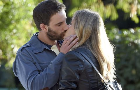 Kiss, Jacket, People in nature, Romance, Interaction, Love, Honeymoon, Gesture, Leather jacket, Leather,
