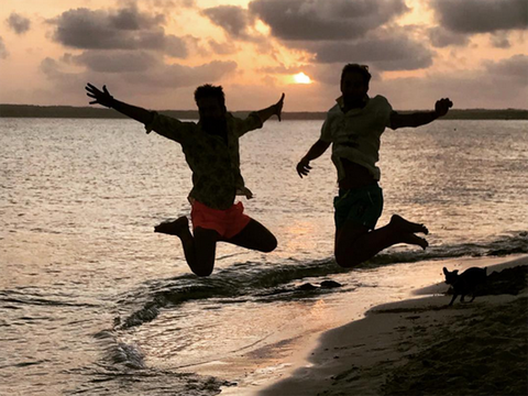 People in nature, Jumping, Happy, Friendship, Fun, Water, Sunset, Human, Sky, Vacation,