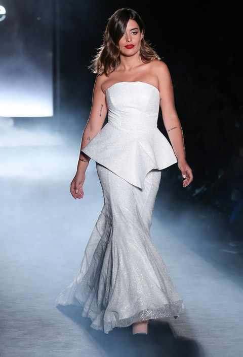 Clothing, Shoulder, Dress, Fashion show, Joint, Fashion model, Style, Formal wear, Gown, One-piece garment,
