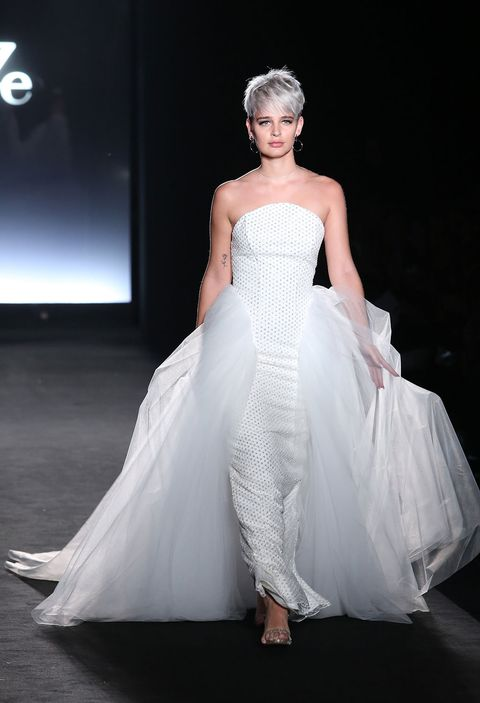 Clothing, Hairstyle, Shoulder, Dress, Bridal clothing, Gown, Textile, Joint, Wedding dress, Formal wear,