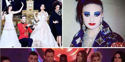 Clothing, Formal wear, Collage, Fashion, Dress, Youth, Wedding dress, Eye liner, Eye shadow, Eyelash,
