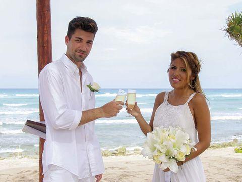 Clothing, Event, Coastal and oceanic landforms, Bridal clothing, Shirt, Dress, Petal, Photograph, Bouquet, Wedding dress,