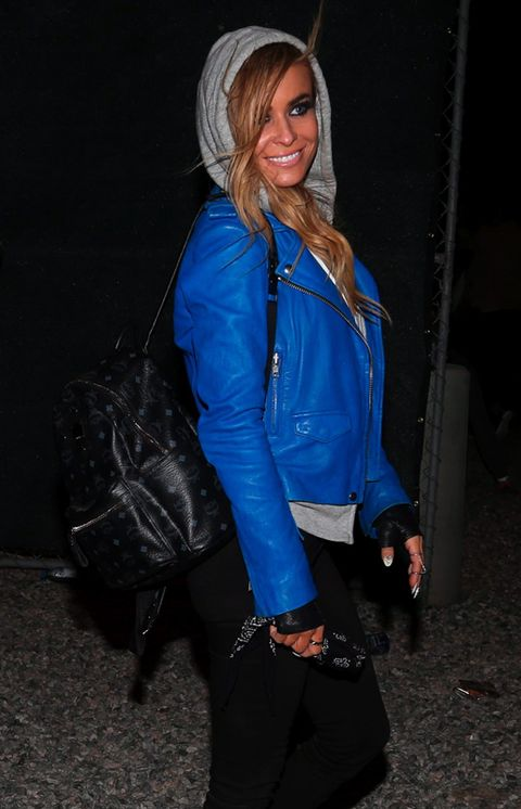 Clothing, Jacket, Human body, Bag, Textile, Outerwear, Electric blue, Leather, Cobalt blue, Luggage and bags,