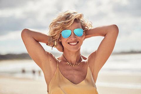 Clothing, Eyewear, Glasses, Vision care, Smile, Skin, Shoulder, Happy, Sunglasses, Summer,