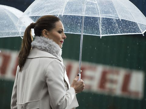 Winter, Umbrella, Outerwear, Street fashion, Beauty, Snapshot, Fur, Long hair, Rain, Precipitation,