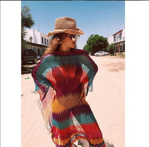 Clothing, Street fashion, Fashion, Beauty, Maroon, Turquoise, Poncho, Footwear, Orange, Dress,