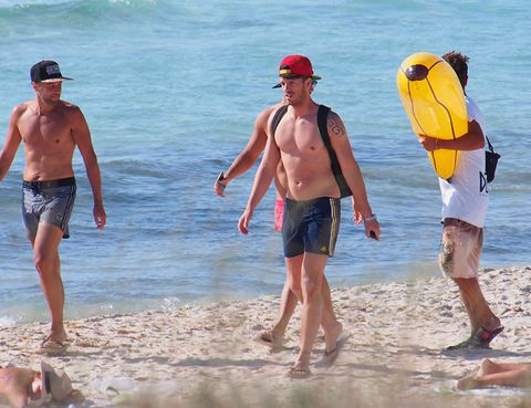 Leg, Fun, Water, board short, Summer, People in nature, Hat, Barechested, Shorts, Beach,
