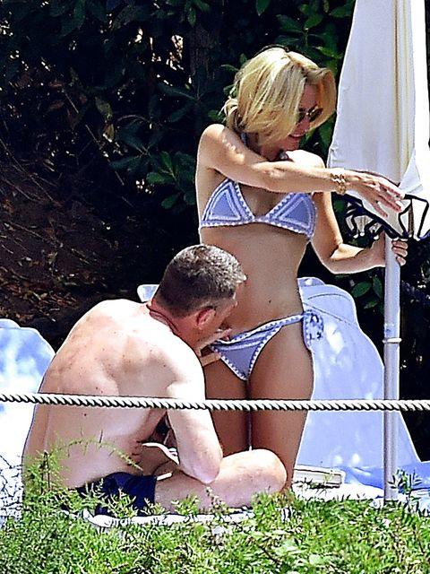 Undergarment, Blond, Bikini, Navel, Leg, Lingerie,