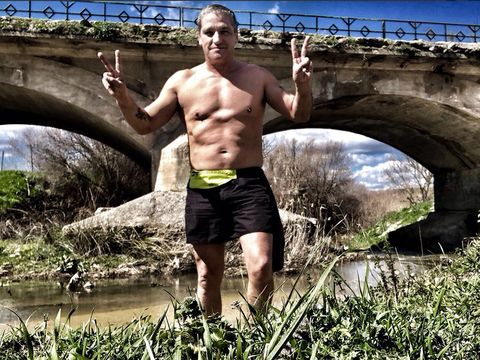 Bridge, Shorts, People in nature, Barechested, Active shorts, Chest, Arch, Muscle, Trunks, Trunk,