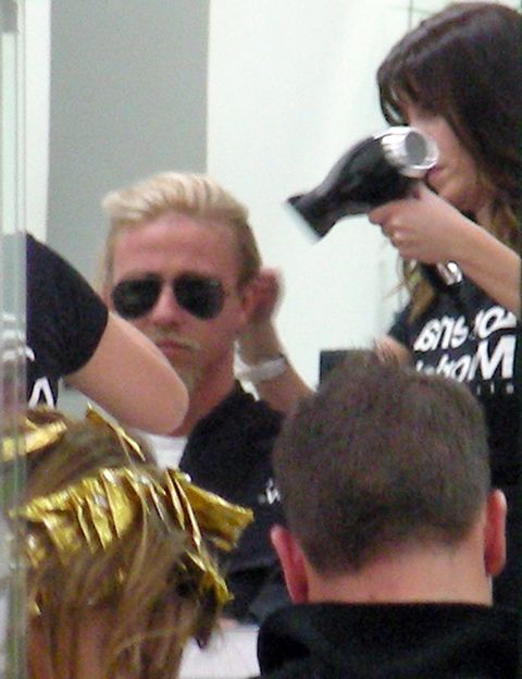 Hair, Head, Eyewear, Hairstyle, Mammal, Interaction, Sunglasses, Blond, Hair coloring, Brass,