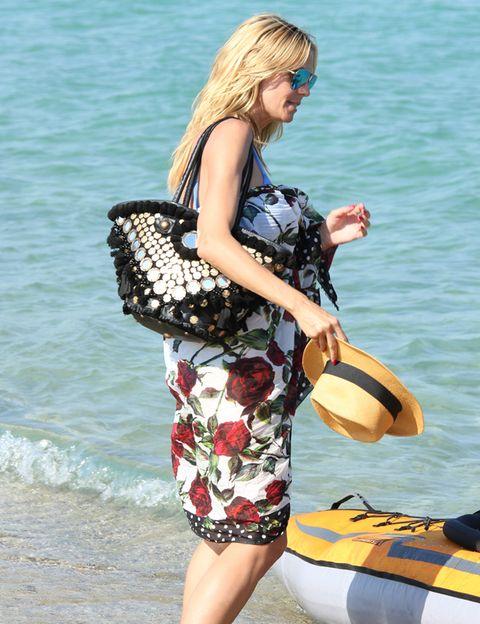 Summer, Waist, Dress, Bag, Watercraft, Street fashion, Thigh, Sunglasses, Beach, Blond,
