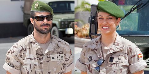 Eyewear, Cap, Vision care, Sleeve, Soldier, Collar, Shirt, Goggles, Uniform, Military uniform,