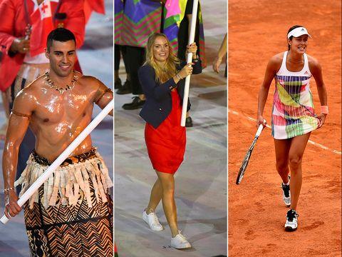 Fashion, Waist, Trunk, Tennis player, Abdomen, Tennis racket, Chest, Racquet sport, Flag, Soft tennis,