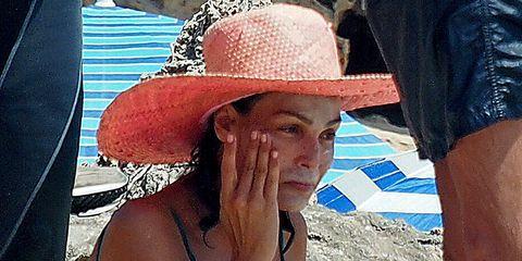 Hat, Denim, Sun hat, Headgear, Muscle, Chest, Fedora, Sun tanning, Nail, Undergarment,