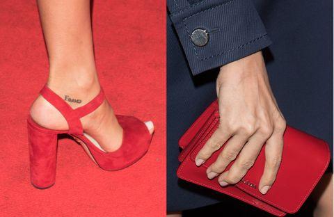 Red, Human leg, Joint, Carmine, Wrist, Foot, Fashion, Nail, High heels, Tan,