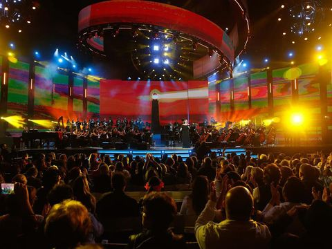 Entertainment, Crowd, Music, Stage equipment, Performing arts, Stage, Audience, Music venue, Performance, Concert,