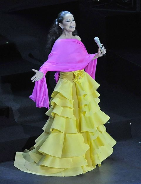 Yellow, Dress, Gown, Formal wear, Pink, Costume design, Fashion, One-piece garment, Fashion model, Haute couture,