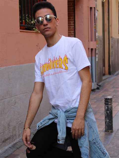White, T-shirt, Cool, Eyewear, Clothing, Street fashion, Glasses, Yellow, Fashion, Pink,