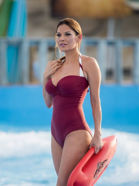 Clothing, Swimwear, One-piece swimsuit, Bikini, Thigh, Shoulder, Maillot, Leg, Summer, Photo shoot,