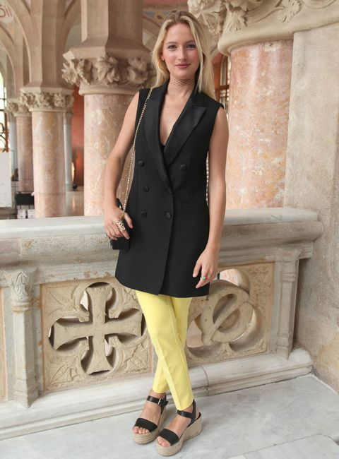 Clothing, Fashion model, Dress, Fashion, Formal wear, Suit, Yellow, Cocktail dress, Outerwear, Neck,