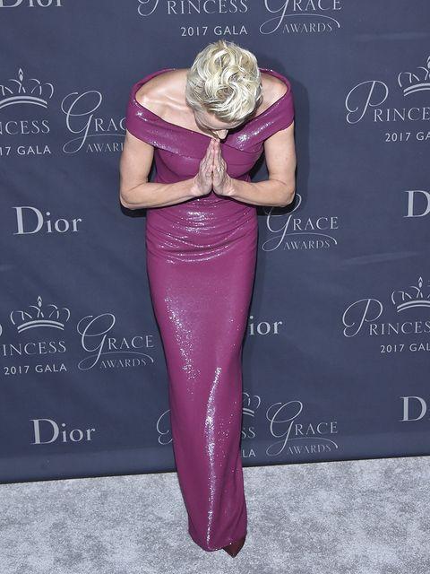 Pink, Purple, Dress, Magenta, Footwear, Haute couture, Style,