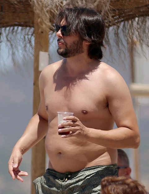 Finger, Hairstyle, Skin, Facial hair, Chest, Barechested, Sunglasses, Trunk, Summer, Muscle,