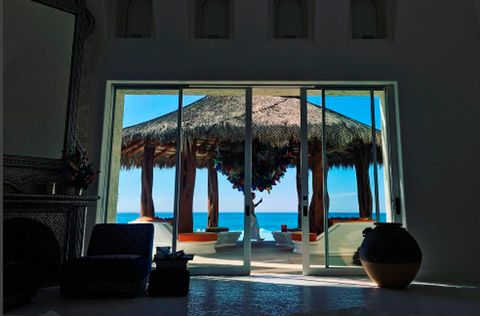 Blue, Interior design, Azure, Flowerpot, Shade, Resort, Thatching, Tropics, Eco hotel, Daylighting,