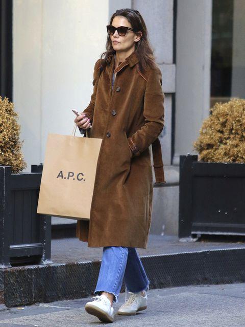 Clothing, Street fashion, Coat, Fashion, Brown, Footwear, Outerwear, Trench coat, Eyewear, Overcoat,