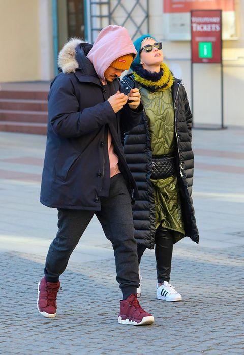 Winter, Trousers, Shoe, Jacket, Textile, Outerwear, Coat, Hat, Street fashion, Carmine,