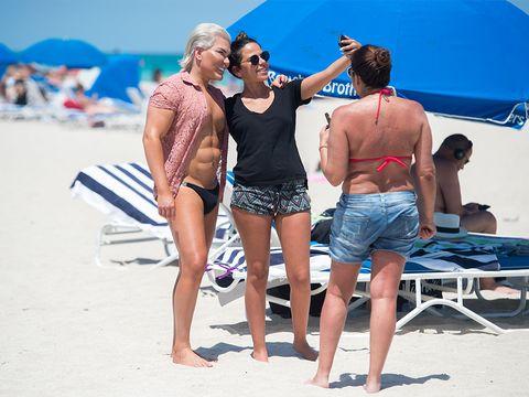 Eyewear, Fun, People on beach, Jeans, Summer, Tourism, Sand, Shorts, Brassiere, Beach,