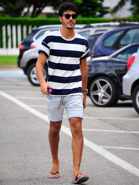 Clothing, Eyewear, Human leg, T-shirt, Sunglasses, Style, Street fashion, Shorts, Alloy wheel, Street,