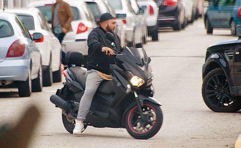 Motor vehicle, Vehicle, Mode of transport, Transport, Scooter, Street, Snapshot, Street fashion, Human, Motorcycle,