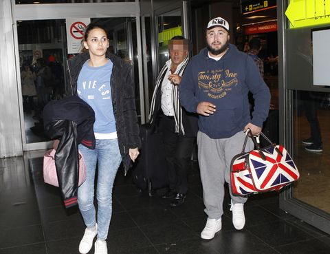 Trousers, Outerwear, Jeans, Bag, Cap, Denim, T-shirt, Luggage and bags, Hat, Headgear,
