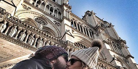 Jacket, Architecture, Landmark, Interaction, Kiss, Romance, Love, Leather, Honeymoon, Medieval architecture,