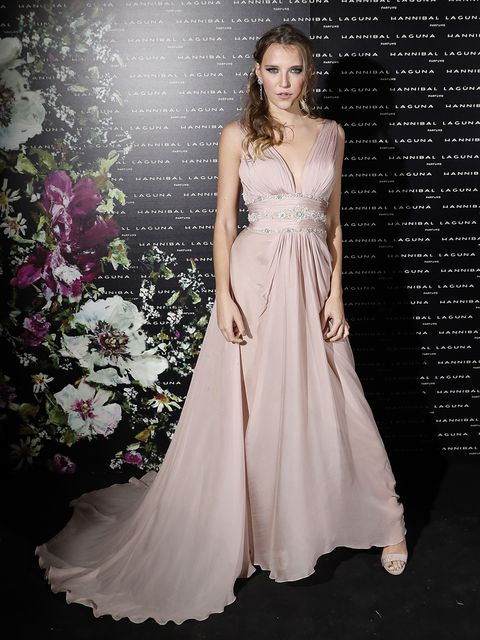 Gown, Dress, Fashion model, Clothing, Bridal party dress, Shoulder, Wedding dress, Formal wear, Pink, Fashion,